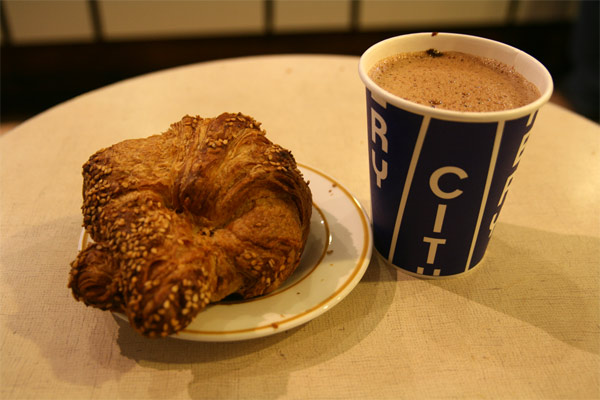 pretzel croissant with beer hot chocolate