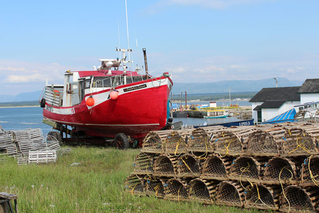 Boat and Lobster Traps at Cow Head