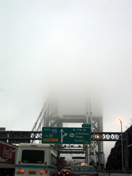 New Jersey tower of george washington bridge in fog