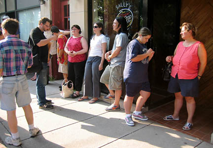 the line at Sally's Apizza