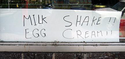 milk shake sign