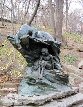 bear and faun sculpture