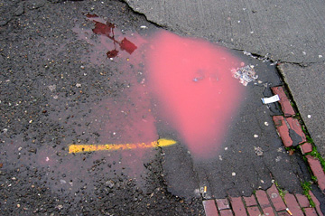 puddle of red water