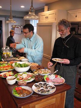 Heidi, Dan, Dick at Heidi's Christmas seafood feast