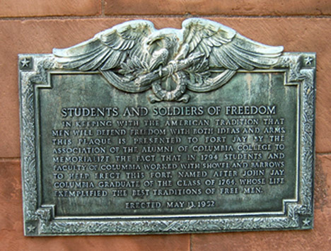Plaque commemorating Columbia Students and Faculty