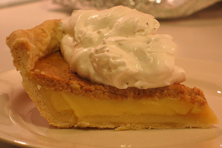 boiled cider pie slice with whipped cream on top