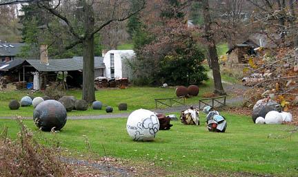 spheres on lawn