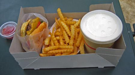 burger, fries, shake